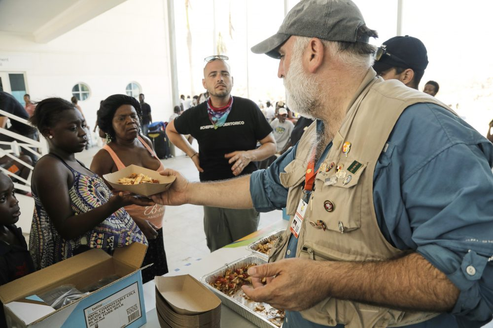 Chef Jose Andres distributes food at the Marsh Harbour Government Complex in Abaco, Bahamas, in the wake of Hurricane Dorian on Sept. 6, 2019. Andres, who has two James Beard Awards and nearly three dozen restaurants, founded the nonprofit World Central Kitchen in 2010 to respond quickly with food and water distribution after natural disasters and other emergencies around the globe.