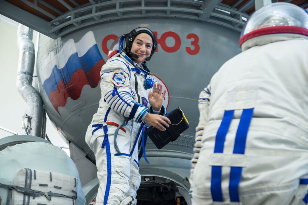 NASA astronaut Jessica Meir climbs aboard a Soyuz trainer during final crew qualification exams Aug. 30 at the Gagarin Cosmonaut Training Center in Star City, Russia. Meir, who grew up in Caribou, launched Sept. 25 for a mission on the International Space Station.