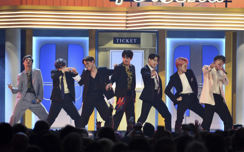 """BTS performs """"Boy With Luv"""" at the Billboard Music Awards in Las Vegas in May 2019."""