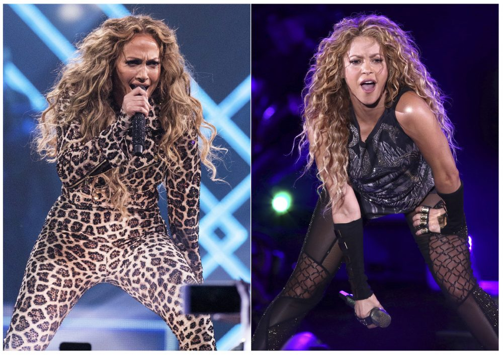 This combination photo shows actress-singer Jennifer Lopez performing at the Directv Super Saturday Night in Minneapolis on Feb. 3, 2018, left, and Shakira performing at Madison Square Garden in New York on Aug. 10, 2018.