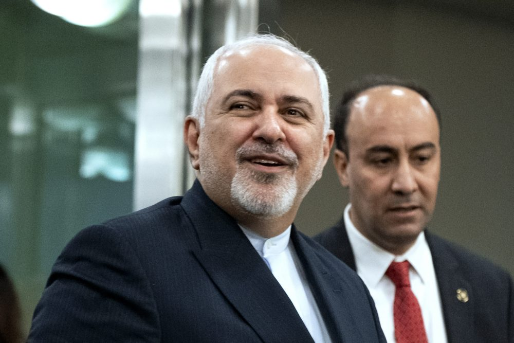Iranian Foreign Minister Mohammad Javad Zarif, left, is shown last month at the United Nations General Assembly in New York. Microsoft has linked a hack targeting U.S. presidential campaigns to the Iranian government.