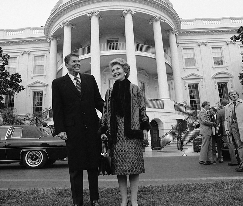 President elect Ronald Reagan and his wife Nancy leave the White House in Washington after their tour Saturday, Dec. 13, 1980. The Reagan's departed for Andrews Air Force Base, Md., for their trip to Los Angeles. (AP Photo)