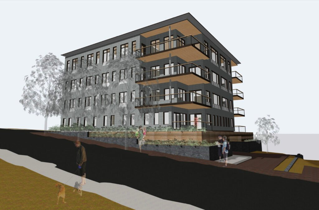 This rendering shows nine proposed condos for 33-37 Montreal St. in Portland's Munjoy Hill neighborhood. The developer received permission to tear down three existing buildings to make way for the project, which has stirred some neighborhood opposition.