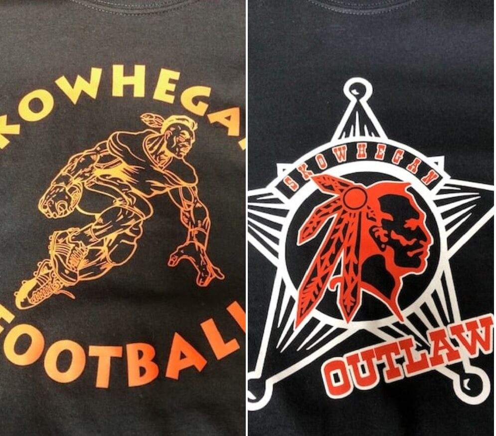 "Maine Fire Equipment Co. of Skowhegan posted these images on Facebook of apparel it is selling depicting the ""Indians"" nickname for local sports teams, which the school has since retired after years of debate."