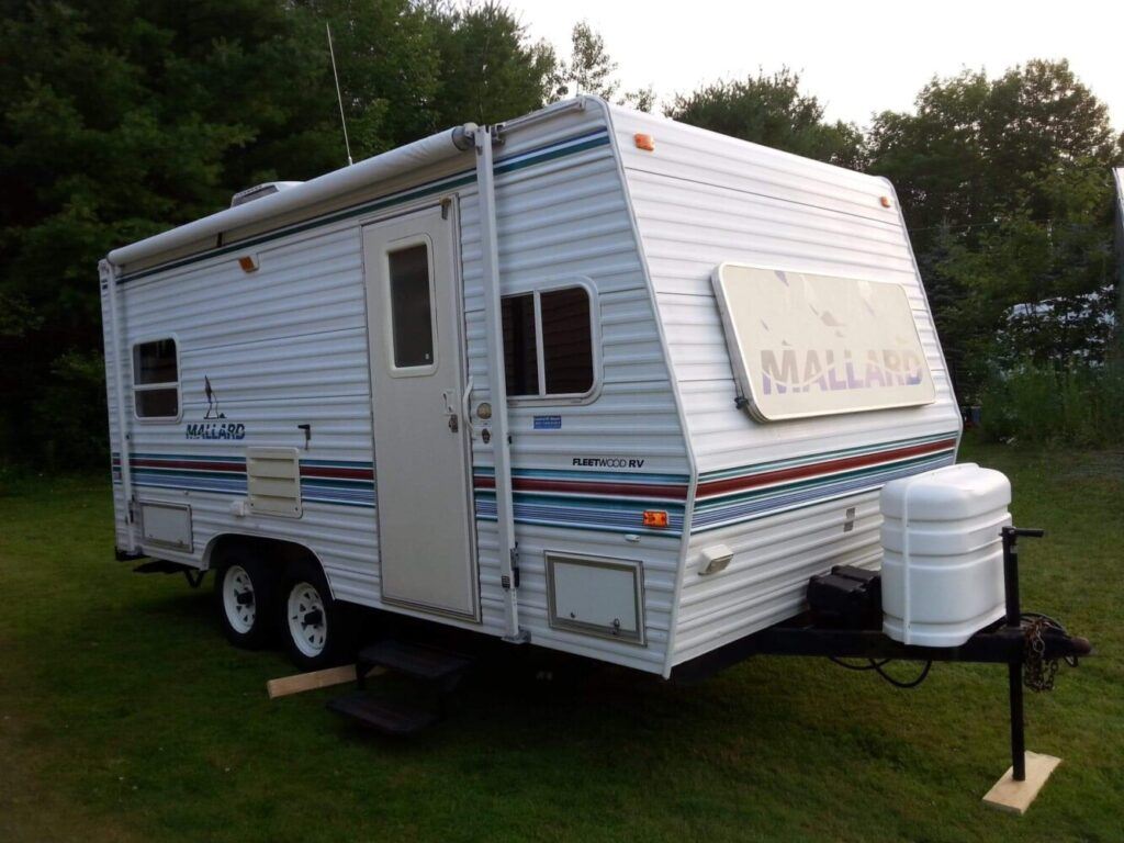 This provided image shows the Fleetwood Mallard camper that was stolen in Chelsea last week.