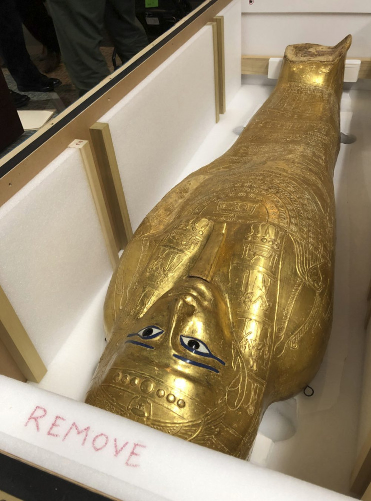 The Coffin of Nedjemankh is shown in a crate on Wednesday  in New York before it was returned to Egypt.