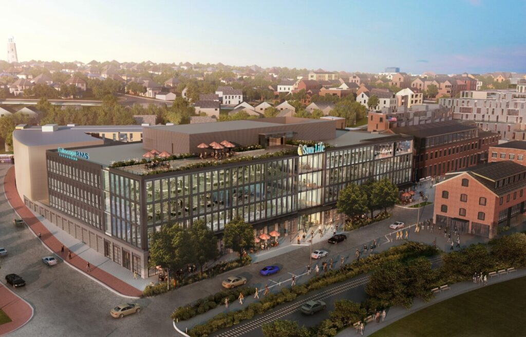 This rendering shows new office space for Sun Life U.S. to be built at the former Portland Co. complex on Portland's waterfront