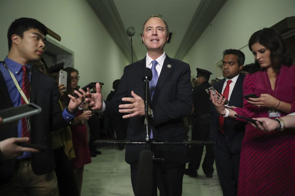 Chairman Rep. Adam Schiff, D-Calif., talks to the media after Acting Director of National Intelligence Joseph Maguire testified before the House Intelligence Committee on Capitol Hill on Thursday.