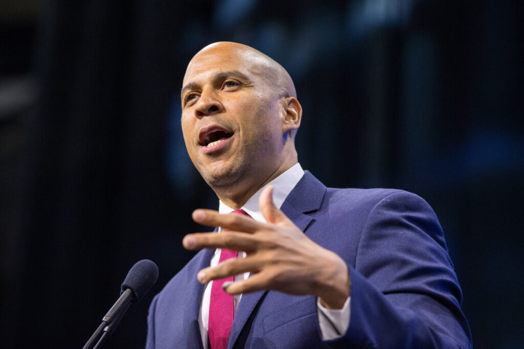 Democratic presidential candidate, Sen. Cory Booker, D-N.J., speaks at the New Hampshire Democratic Party Convention on Sept. 7 in Manchester. According to a RealClearPolitics aggregate of national polls, less than 3 percent of Democratic primary voters support him for president.