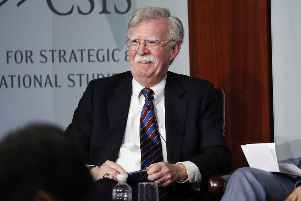 Former National security adviser John Bolton reacting to questions while speaking at the Center for Strategic and International Studies in Washington in late September.