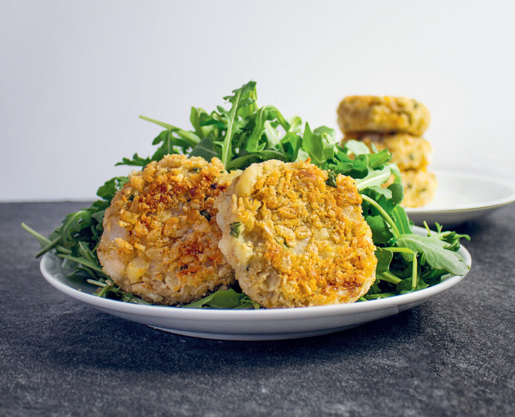 "White Bean & Basil Cakes from ""The Anti-inflammatory Kitchen Cookbook."""