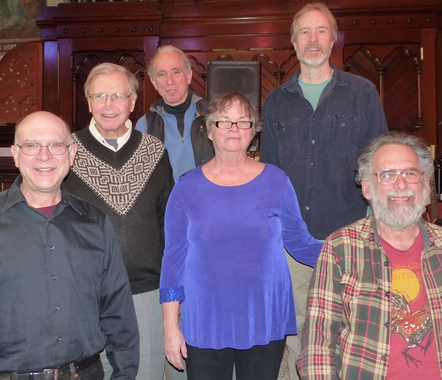 The Beet Poets will perform at 6:30 p.m. Sept. 24 at the Bailey Library in Winthrop. From left are David Moreau, Steve Cowperthwaite, Jay Franzel, Claire Hersom, Brian Kavanah and Stan Davis. Cowperthwaite is not performing at this event.