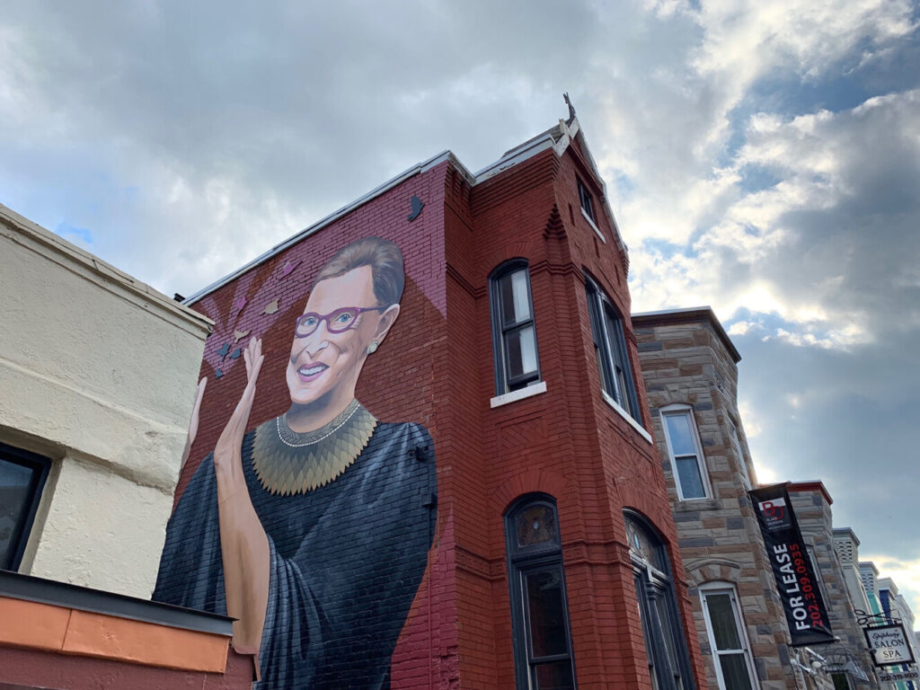 A mural of Supreme Court Justice Ruth Bader Ginsburg, painted by Rose Jaffe, is at 15th and U streets in Washington, D.C.