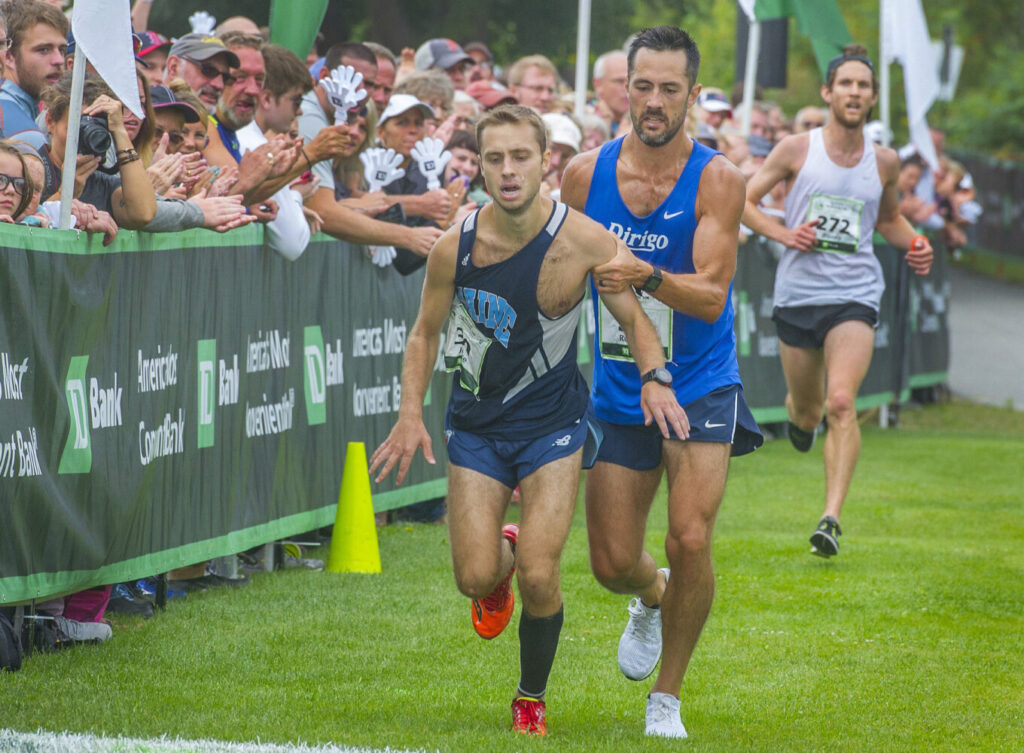 Helping a stranger. At the finish of the 2107 Beach to Beacon race, Robert Gomez helped  Jesse Orach to the finish line after Orach had collapsed just before the line. Gomez' extraordinary act of sportsmanship gave Orach the extra help he needed to cross the line  and win his division.