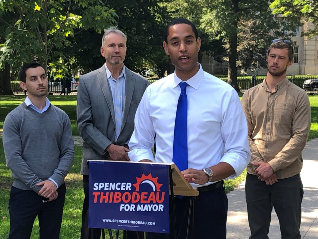Five Portland city councilors and two former councilors endorse Councilor Spencer Thibodeau for mayor Tuesday. From left to right are Councilor Justin Costa, former Councilor Jon Hinck, Thibodeau and Councilor Brian Batson.