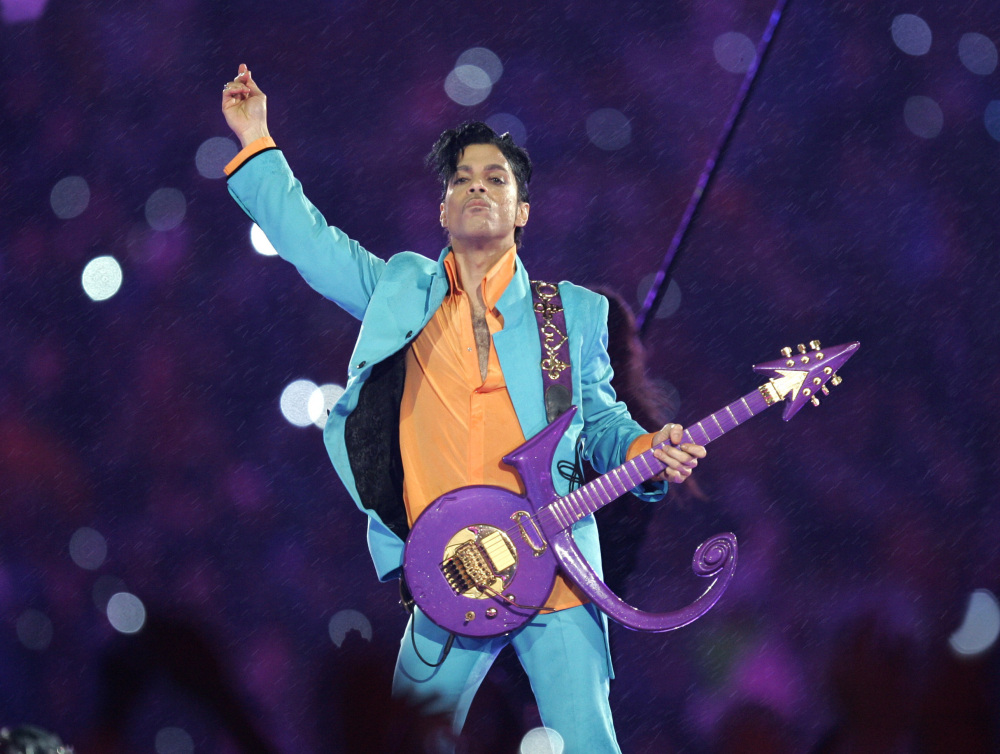 Prince performs during the halftime show at the Super Bowl XLI football game at Dolphin Stadium in Miami in 2007.