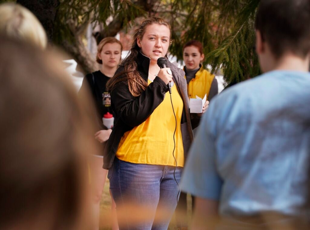 Aela Mansmann speaks to a gathering of Cape Elizabeth High students who walked out of the school in October 2019 to protest a suspension given to Mansmann and two other girls.
