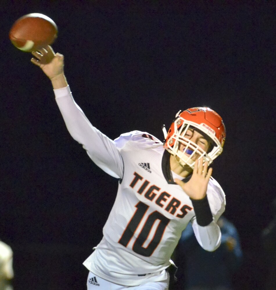 Gardiner quarterback Noah Reed throws a pass against Mt. Blue in a Pine Tree Conference B game last Friday in Farmington.