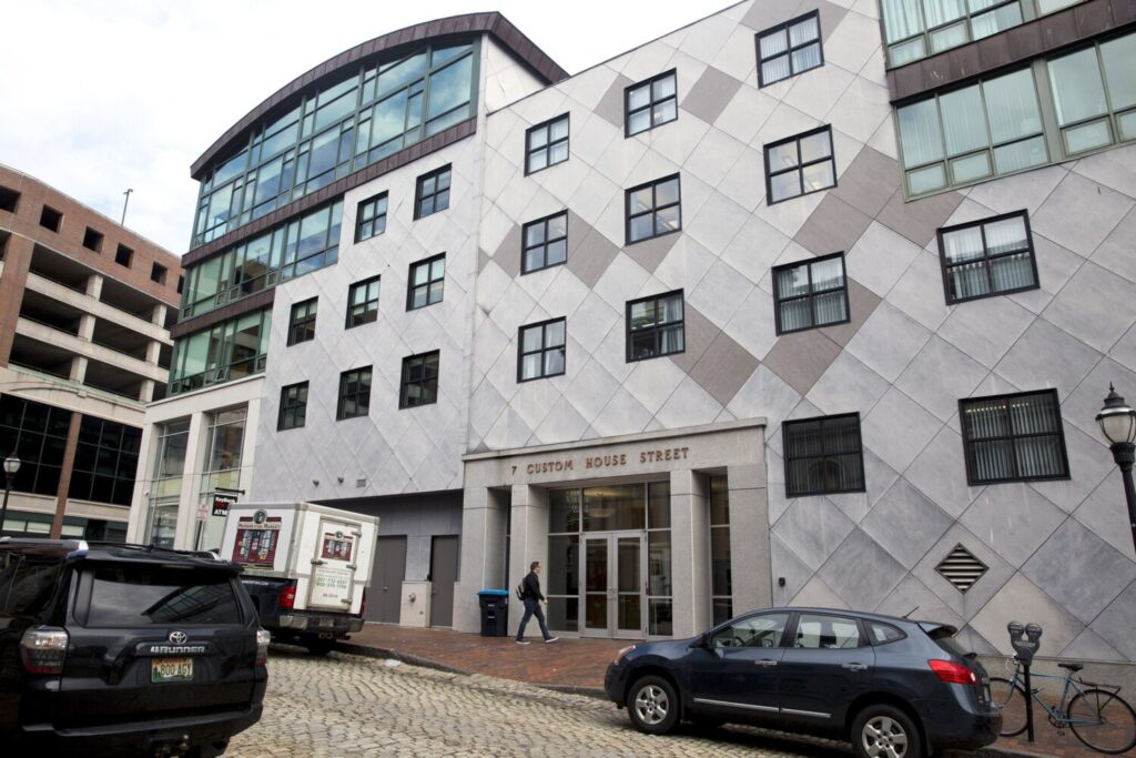 The current location of Covetrus' offices at 7 Custom House St., in the Old Port. The company's public offering nine months ago was followed by disastrous earnings reports, prompting a lawsuit alleging investor fraud at the animal health technology firm. Covetrus plans a new headquarters near its current offices.