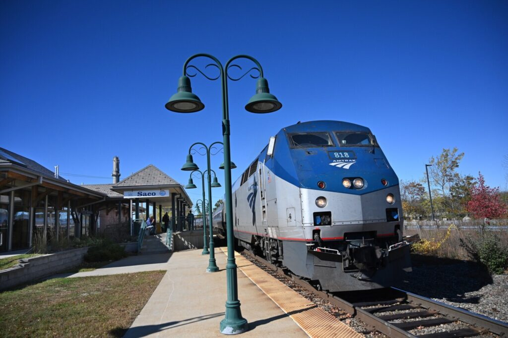 The Amtrak Downeaster arrives in Saco on Oct. 19, 2019. The agency that runs the rail service reported record ridership in 2019.