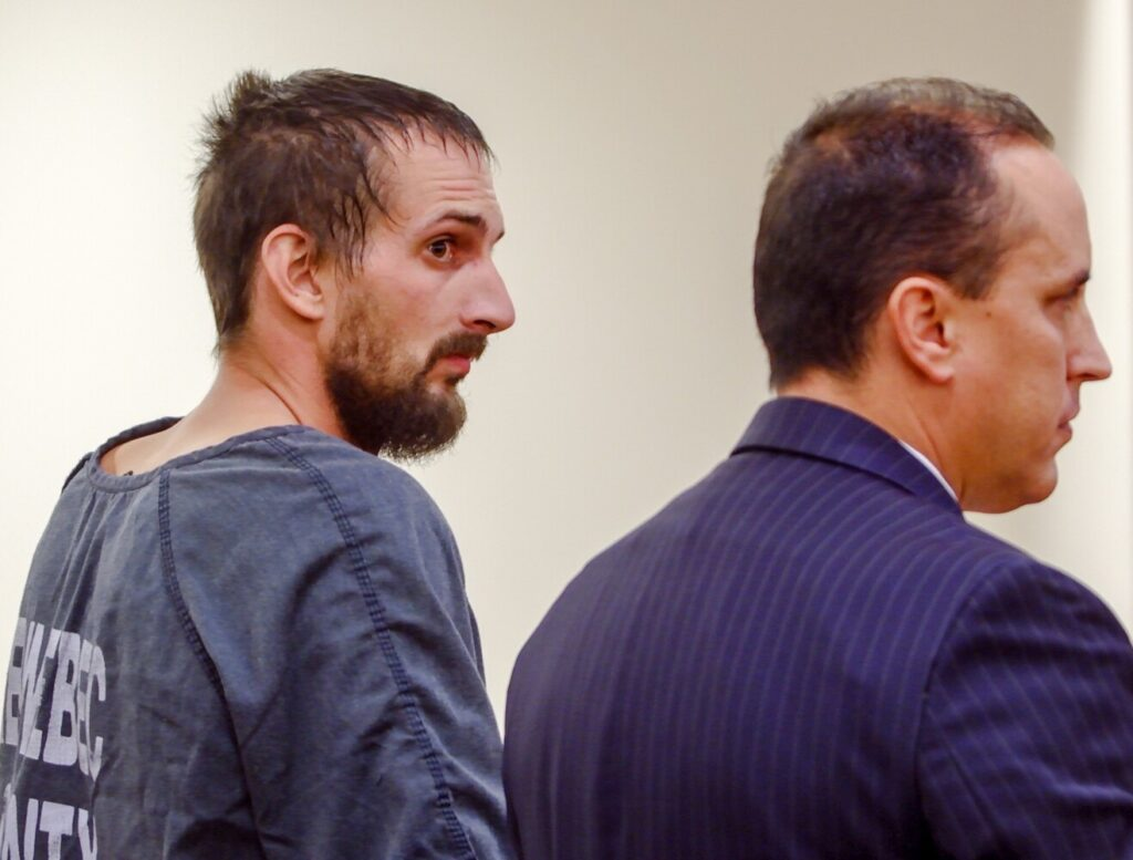 Nicholas Lovejoy, left, stands with his attorney, Darak Banda, on Oct. 25, 2019, during his initial appearance on murder charges at Capital Judicial Center in Augusta.