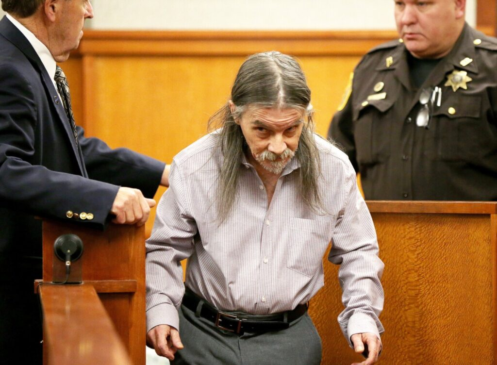Everett Meserve, 62, is led into the courtroom where he pleaded not guilty to a charge of murder on Monday at Cumberland County Superior Court in Portland. Meserve is accused of assaulting Rodney Cleveland on Aug. 3. Cleveland later died from his injuries.