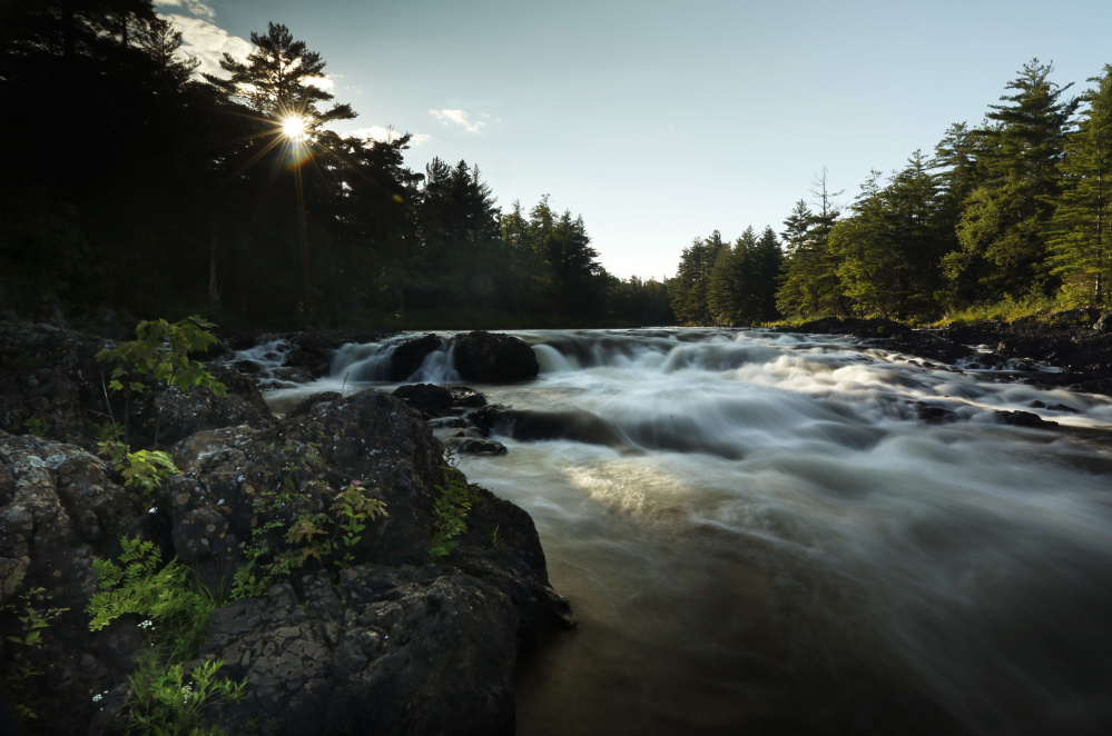 The East Branch of the Penobscot River flows over Pond Pitch in the Katahdin Woods and Waters National Monument in northern Maine. Signs directing visitors to the area are finally being erected.