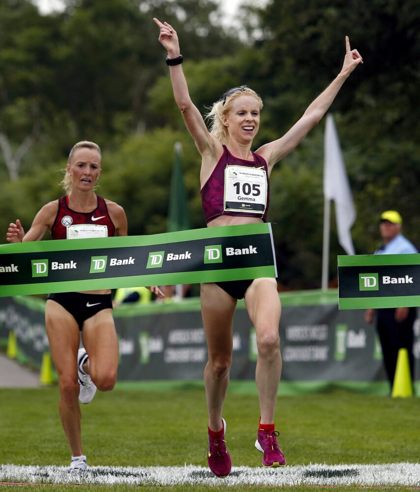 Shalane Flanagan finishes second behind Gemma Steel at the 2014 Beach to Beacon, nearly becoming the first American woman to win the race. Flanagan, who won the 2017 New York City Marathon, announced her retirement on Monday.