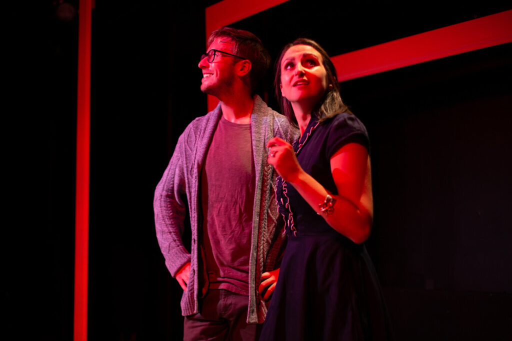 "Allison McCall as Jill and Joe Bearor as her husband Ollie in Mad Horse Theatre's production of ""Radiant Vermin."""