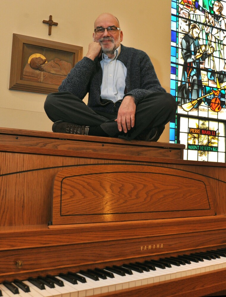 """Pianist and organist Jeff Quinn has served the Notre Dame de Lourdes Catholic Church in Skowhegan for 50 years. On Tuesday he said, """"I cannot imagine not doing something expressive or creative."""""""