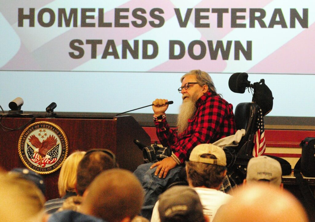 Tim Walter, of Farmingdale, was one of the speakers at the opening ceremony for the 20th annual Homeless Veterans Stand Down on Oct. 21, 2017, at Togus VA Medical Center in Augusta.