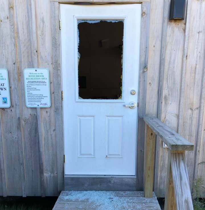 A door at the warming shelter at the Bond Brook Recreation Area had its window smashed out last week, according to Community Services Director Leif Dahlin.