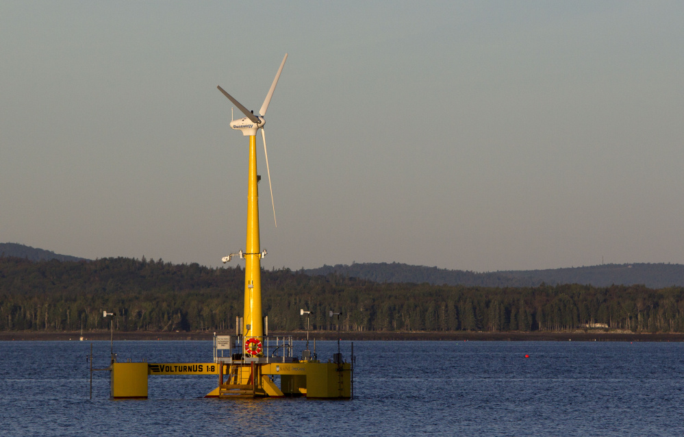 The University of Maine's 9,000-pound prototype floating wind turbine off the coast of Castine in 2013.