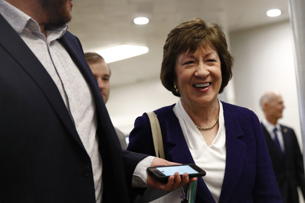 Sen. Susan Collins, R-Maine, is one of three Republicans who are considered vulnerable in the 2020 race but who have not signed on to a Senate resolution condemning the House impeachment inquiry.