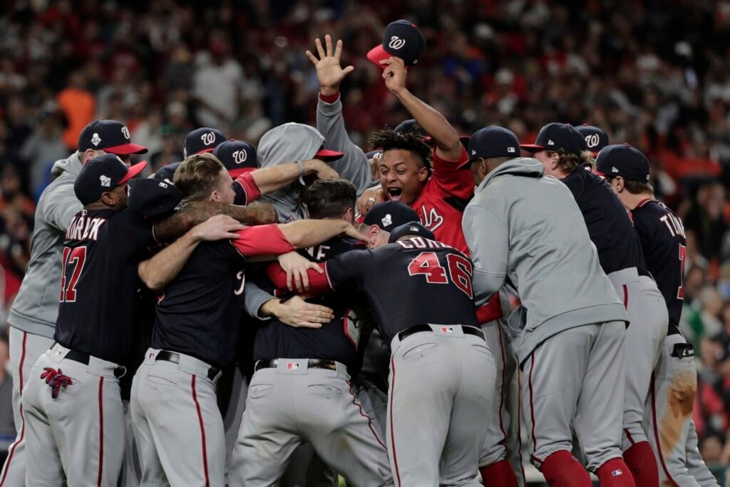 The Washington Nationals celebrate after Game 7 of the baseball World Series against the Houston Astros Wednesday.