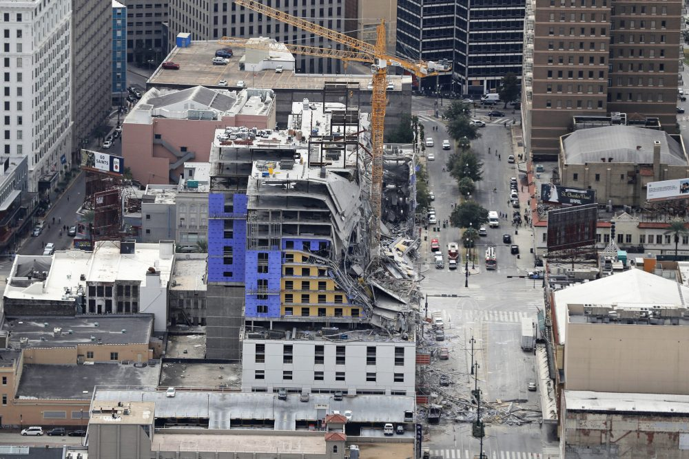 This aerial photo shows the Hard Rock Hotel, which was under construction, after a fatal partial collapse in New Orleans on Saturday.