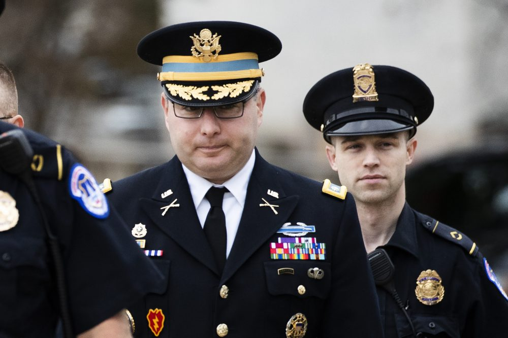 The testimony of Army Lt. Col. Alexander Vindman, a military officer at the National Security Council, center, before House committees that are conducting the impeachment inquiry into President Trump, was released Friday.