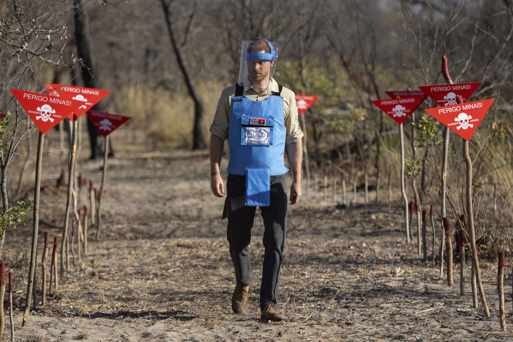 Britain's Prince Harry walks through a minefield in Dirico, Angola, during a visit to see the work of landmine clearance charity the Halo Trust.
