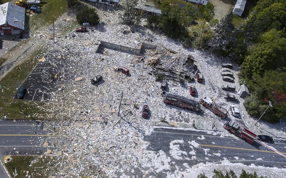 An aerial view shows the devastation after an explosion at the Life Enrichment Advancing People (LEAP) building in Farmington that killed one firefighter and injured multiple others.