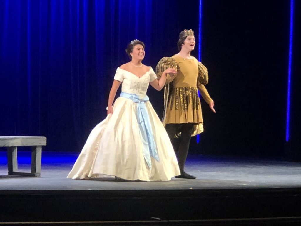 "The Wedding Scene during the Waterville Senior High School rehearsal of ""Cinderella."" From left are Colette Carrillo as Cinderella William Jackson as the Prince."