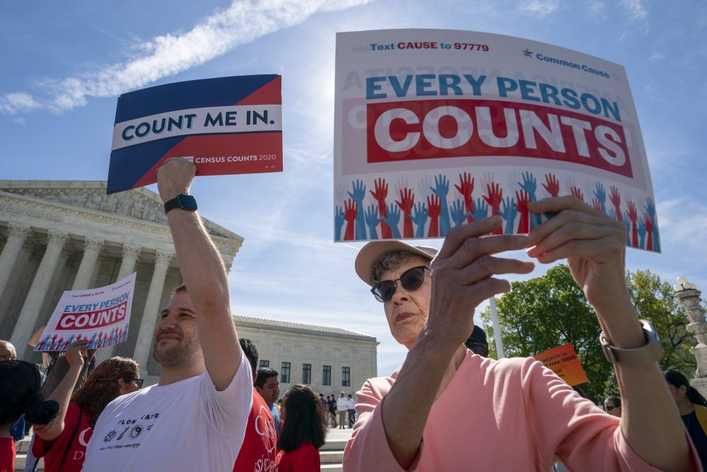 Immigration activists rally outside the Supreme Court on April 23 as the justices hear arguments over the Trump administration's plan to ask about citizenship on the 2020 Census. Worried about internet trolls and foreign powers spreading false news, census officials are preparing to battle misinformation campaigns for the first time in the bureau's 230-year history.