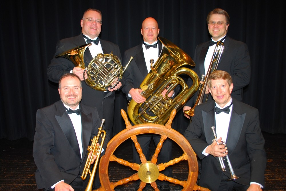 Downeast Brass member, from left, are Andrew Foster, D. Loren Fields, Mark Mumme, Mike Peterson and Dwight Tibbetts.  Mike Peterson, trombone; Mark Mumme, tuba; D. Loren Fields, French horn; and Dwight Tibbetts,