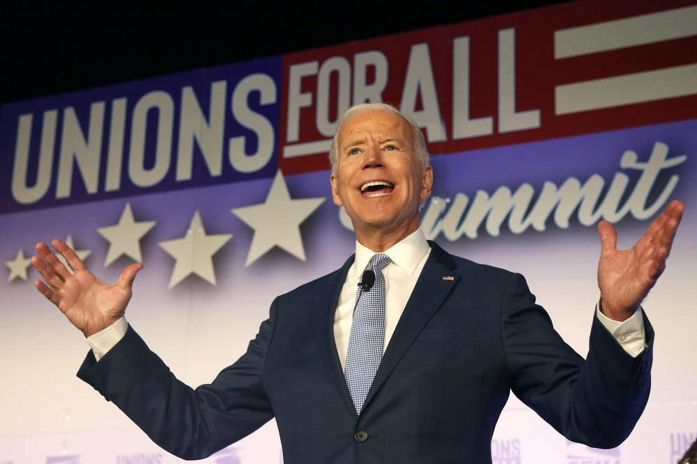 Former Vice President and Democratic presidential candidate Joe Biden speaks at the  SEIU Unions For All Summit on Friday, Oct. 4, 2019, in Los Angeles.
