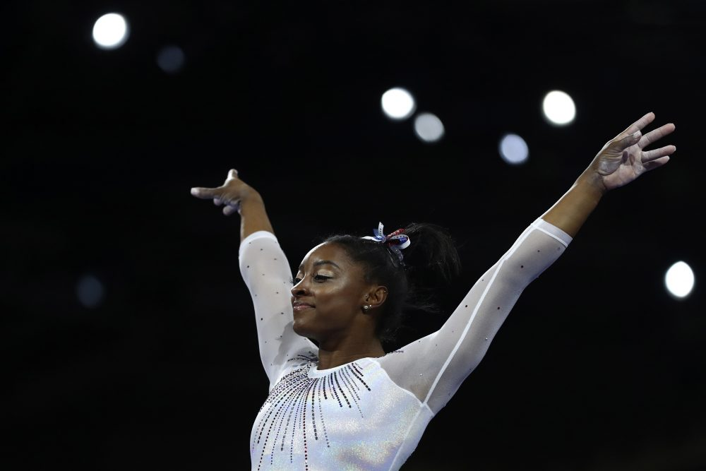 Simone Biles of the United States performs on the vault in the women's all-around final at the Gymnastics World Championships in Stuttgart, Germany, Thursday, Oct. 10, 2019.