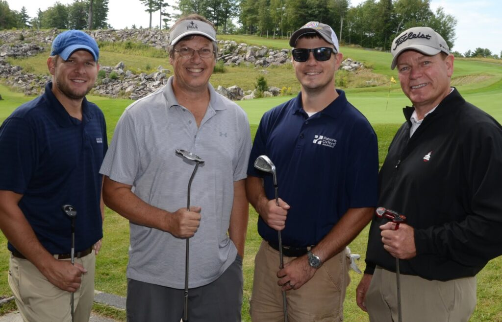 From left, Eric Gosline, Geoff Houghton, Jake Coan and Ron Trahan from the team Gosline-Murchie Insurance took first-place net honors at Golf Fore Kids' Sake at Belgrade Lakes in support of Big Brothers Big Sisters of Mid-Maine.