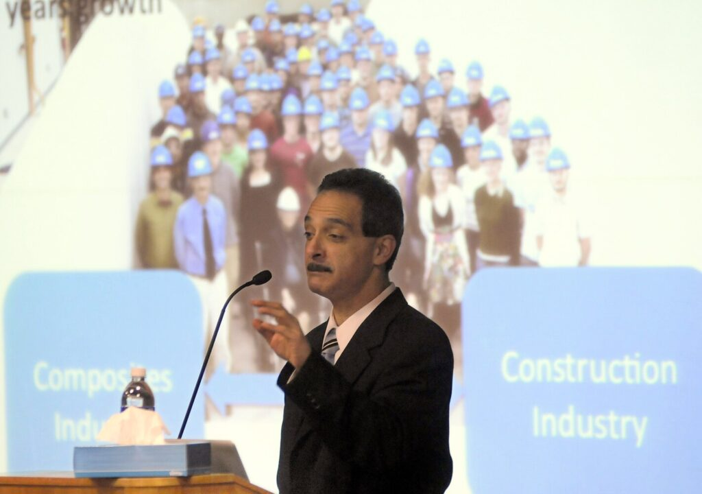 University of Maine engineering professor Habib Dagher discusses the prospect for offshore wind  during an address to the University of Maine at Augusta in 2019.