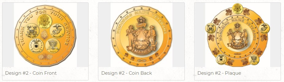 A rendering of the winning design for the new Maine Veteran Honorable Service Recognition Coin, designed by Georgette Kanach of Gray, Maine.