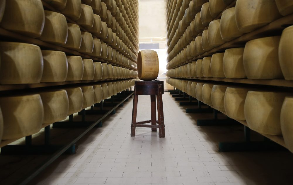 Parmigiano Reggiano Parmesan cheese wheels stored in Noceto, near Parma, Italy. U.S. consumers are snapping up Italian Parmesan cheese ahead of an increase in tariffs to take effect next week.