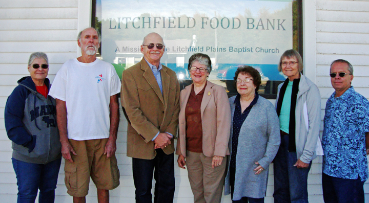 Present for the Litchfield Food Bank donation were volunteers Ginnie Barrett and David Gagne, Tom Waddell, Rayna Leibowitz, volunteer Sandi Jones, and Dian White and Pastor Peter Barrett of the Litchfield Plains Baptist Church.