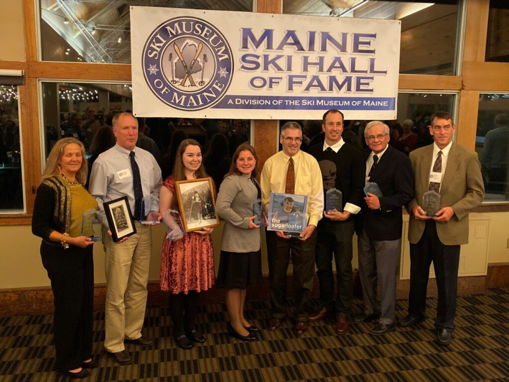 Maine's 2019 Maine Ski Hall of Fame inductees were honored Oct. 19 at Sugarloaf Mountain. From left are Leigh Breidenbach, Brent Jepsen standing in for Henry Anderson, Lizzie Chenard for Billy Chenard, Lindsay Ball, Jeff Schipper for Paul Schipper, Seth Wescott, Don Fowler and Bob Zinck.